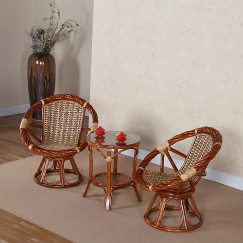 小藤椅三件套阳台海草旋转庭院休闲水曲柳藤编泡茶椅