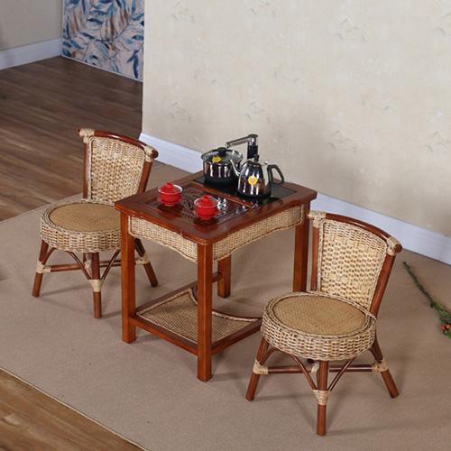 小藤椅三件套 阳台海草 庭院休闲水曲柳藤编泡茶椅